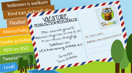 [:nl]Vacature pedagogisch medewerker kinderdagverblijf Tilburg Kinderopvang Unikids 2.0. BSO Prins Bernhardschool! KDV,BSO,Tilburg west, de Reit, rendierhof 01 text[:en]Job offer pedagogical staff nursery Tilburg Daycare Unikids 2.0, international nursery! Childcare, Tilburg West, Reit, BSO Prins Bernhardschool 01 text